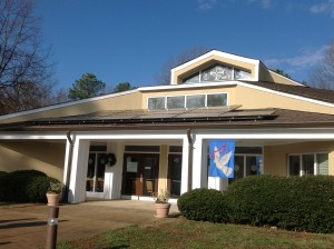 Solar panels over the entrance to the First Congregational Christian United Church of Christ. Photo credit: Matt Ruscio