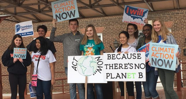 Students rally for climate action in Alexandria, Virginia. Photo courtesy of Sierra Club.