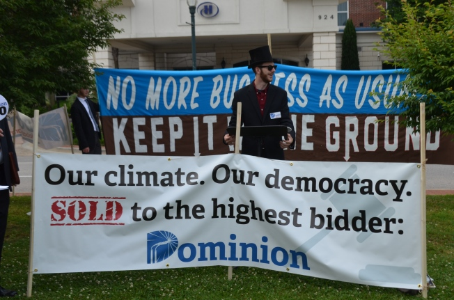 Climate activists protest outside Dominion Resources' May shareholder meeting in Columbia, SC. Photo credit Ian Ware, Chesapeake Climate Action Network.