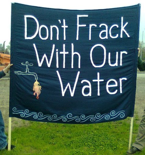 sign from a protest against fracking