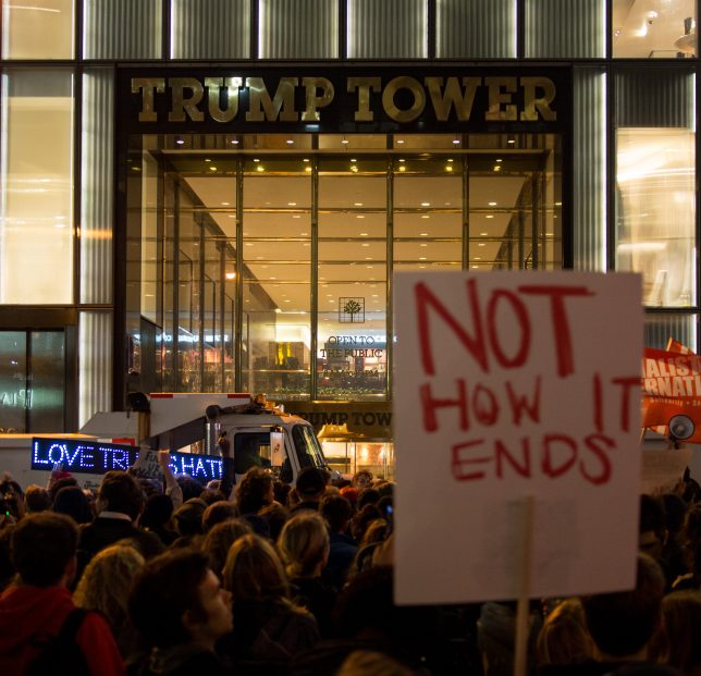 A protest in Manhattan against the presidency of Donald Trump, held the day after the election. Photo credit Rhododendrites - Own work, CC BY-SA 4.0, https://commons.wikimedia.org/w/index.php?curid=53011447