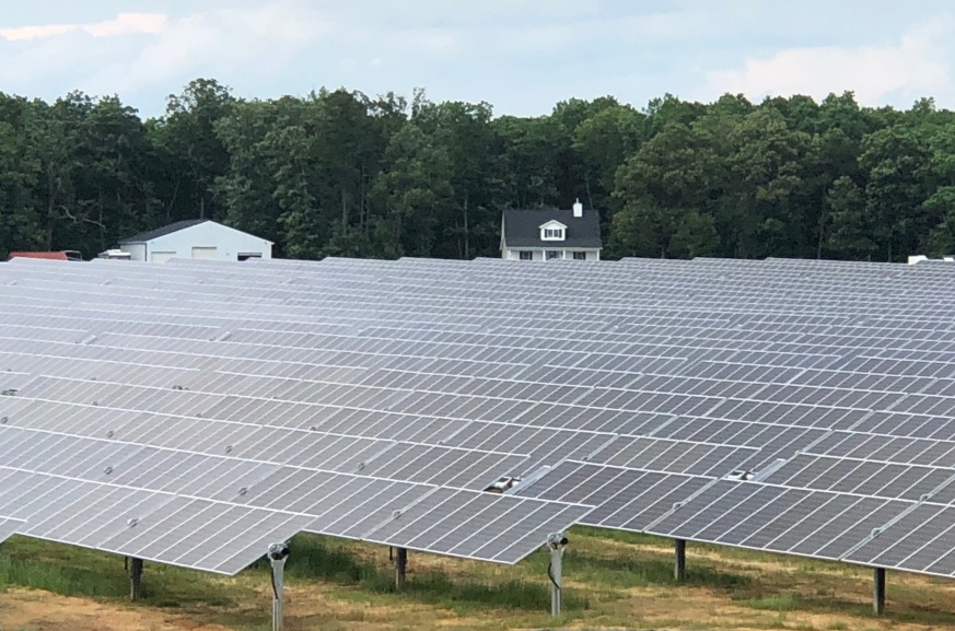 Solar arrays at the Palmer Solar Center in Troy, Virginia