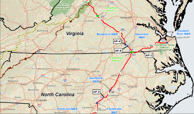 map showing VA and NC route of Atlantic Coast Pipeline