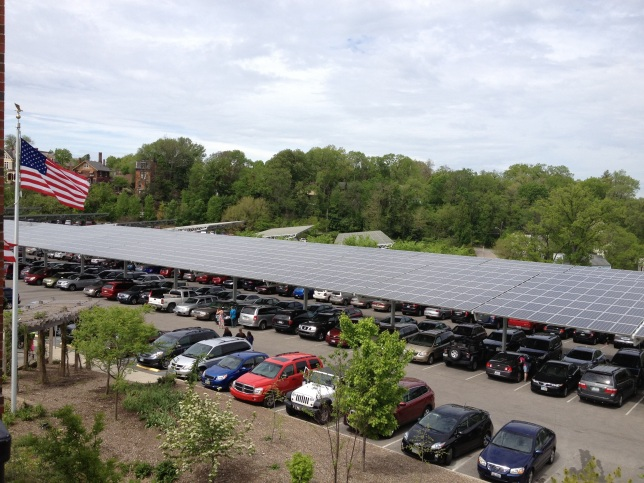 Solar canopy over a parking lot