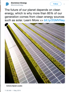 Twet from Dominion Energy claiming its power is 85% green. Picture shows solar panels.