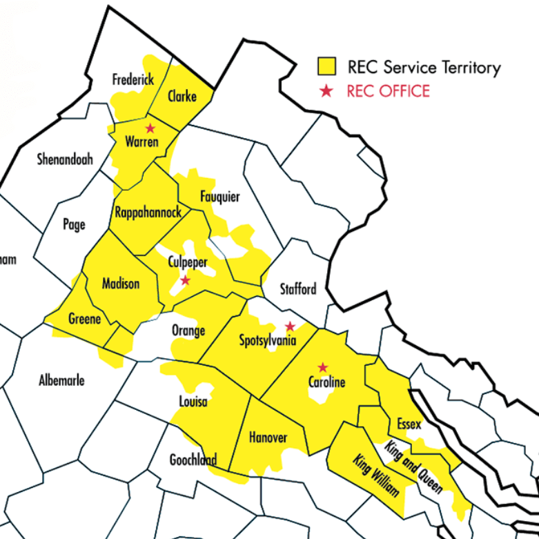 map shows territory of Rappahannock Electric Cooperative