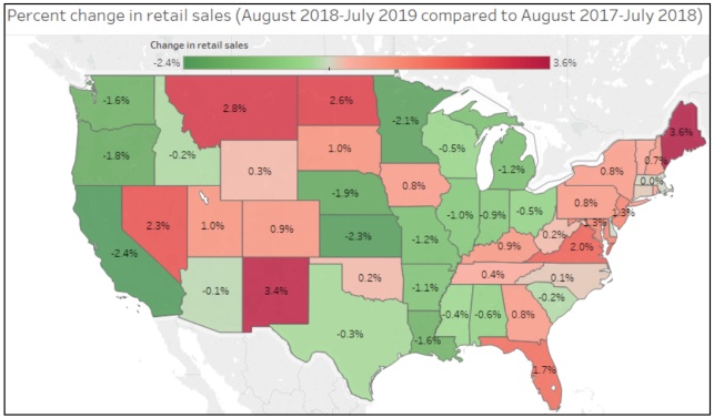 map of US shows changes in retail sales of electricity in each state