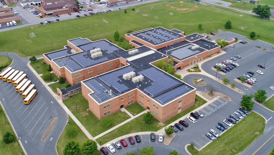 solar panels on a school roof