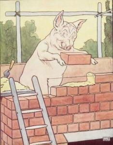 cartoon pig laying bricks